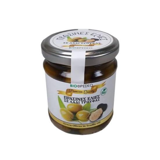 Βιολογικές πράσινες ελιές σε λάδι τρούφας, 180gr