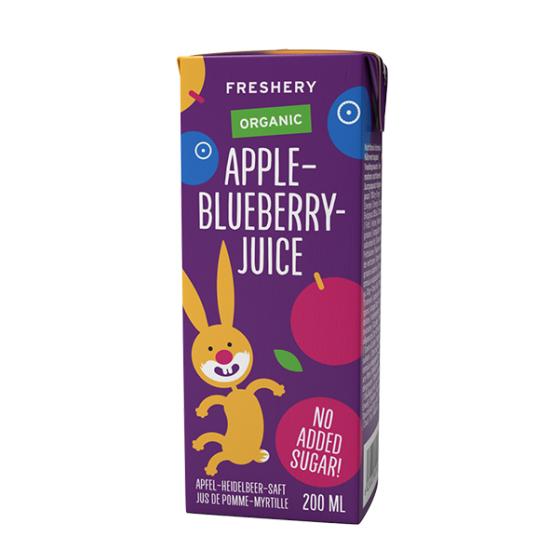 Παιδικός βιολογικός χυμός Freshery μήλο-μύρτιλλο, 200ml