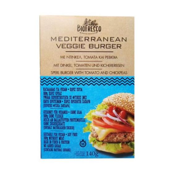 Mediterranean Veggie Burger με ντίνκελ, τομάτα & ρεβίθια, 140g
