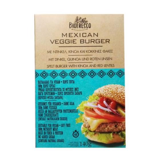 Mexican Veggie Burger με ντίνκελ, κινόα & κόκκινες φακές, 140g
