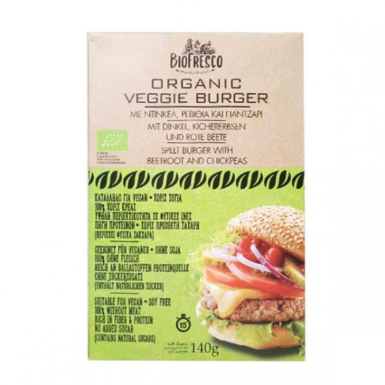 Veggie Burger με ντίνκελ, ρεβίθια & παντζάρι 140g