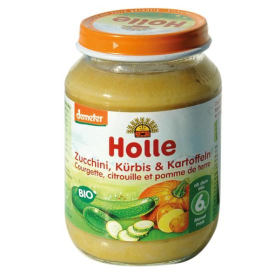 Κολοκύθα, κολοκυθάκι πράσινο και πατάτα σε βάζο Holle, 190gr