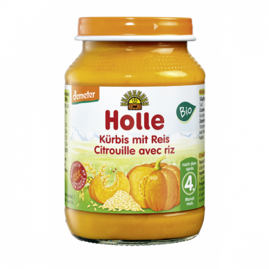 Κολοκύθα και ρύζι Holle βιοδυναμικής καλλιέργειας σε βάζο, 190gr