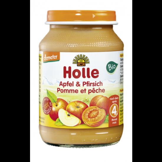 Μήλο και ροδάκινο Holle σε βάζο, 190gr