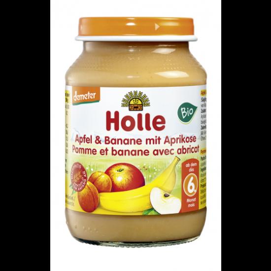 Μήλο, μπανάνα και βερίκοκο Holle σε βάζο, 190gr